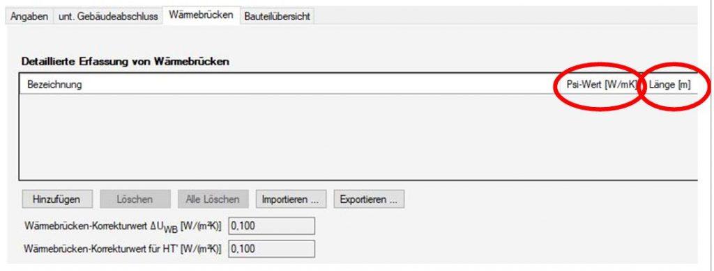 Detaillierter Wärmebrückennachweis- Ermittlung von deltaUwb